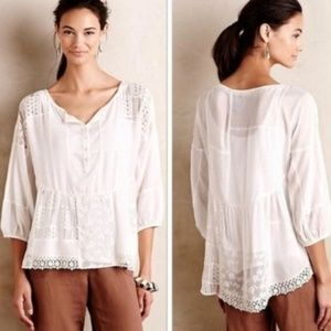 Anthro Vanessa Virginia White Lace Peasant Top D20